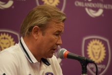 Adrian Heath addresses the media during Orlando City SC's media day on Friday, February 26, 2016. (Victor Ng / Orlando Soccer Journal)