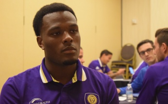 Cyle Larin speaks with the Orlando Soccer Journal during Orlando City SC's media day on Friday, February 26, 2016. (Victor Ng / Orlando Soccer Journal)