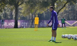 David Mateos looks on following a kick during training prior to Orlando City SC's media day on Friday, February 26, 2016. (Mike Gramajo / Orlando Soccer Journal)