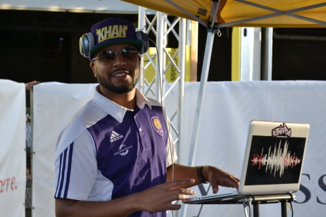 DJ Infared blasts music for fans at the Orlando City SC training facility announcement in Lake Nona on Jan. 29, 2016. (Rosie Reitze / Orlando Soccer Journal).