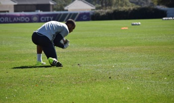 Earl Edwards Jr. corrals a ball during goalkeeper drills in training prior to Orlando City SC media day on Friday, February 26, 2016. (Victor Ng / Orlando Soccer Journal)