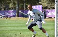 Earl Edwards Jr. prepares to block a shot in goalkeeper drills during training prior to Orlando City SC's media day on Friday, February 26, 2016. (Victor Ng / Orlando Soccer Journal)