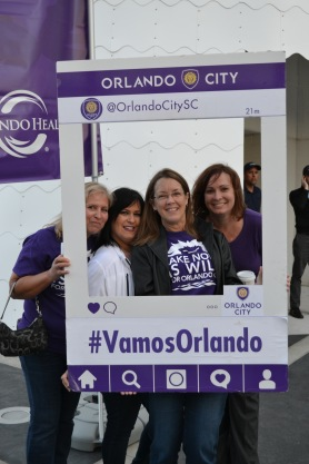 Fans show their pride at Orlando City SC's Happy Hour event in lake Nona on Jan. 29, 2016. (Rosie Reitze / Orlando Soccer Journal).