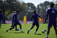 Orlando City SC players compete in a keep-away drill during training prior to the club's media day on Friday, February 26, 2016. (Victor Ng / Orlando Soccer Journal)