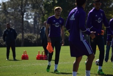 Harrison Heath prepares to participate in the team's keep-away drill during training prior to Orlando City SC's media day on Friday, February 26, 2016. (Victor Ng / Orlando Soccer Journal)