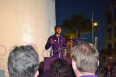 Ricardo Kaka speaks to the Orlando City SC fans about his excitement for a new training facility in Lake Nona on Jan. 29, 2016. (Rosie Reitze / Orlando Soccer Journal).