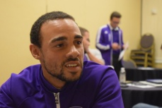 Kevin Alston speaks with the Orlando Soccer Journal during Orlando City SC's media day on Friday, February 26, 2016. (Victor Ng / Orlando Soccer Journal)