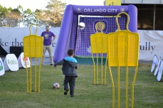 The youngest Orlando City SC fans celebrate the new training facility at the Happy Hour event in Lake Nona on Jan. 29, 2016. (Rosie Reitze / Orlando Soccer Journal).