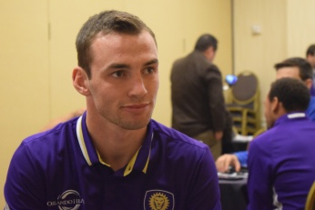 Conor Donovan speaks with the Orlando Soccer Journal during Orlando City SC's media day on Friday, February 26, 2016. (Victor Ng / Orlando Soccer Journal)