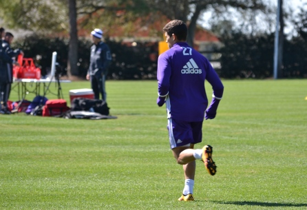 Rafael Ramos runs in a drill during training prior to Orlando City SC's media day on Friday, February 26, 2016. (Mike Gramajo / Orlando Soccer Journal)