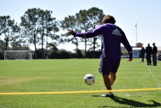 Ricardo Kaká boots a corner kick during training prior to Orlando City SC's media day on Friday, February 26, 2016. (Victor Ng / Orlando Soccer Journal)