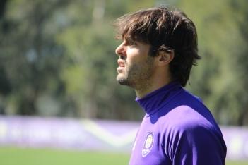 Ricardo Kaká looks on at his team during training prior to Orlando City SC's media day on Friday, February 26, 2016. (Mike Gramajo / Orlando Soccer Journal)