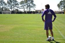 Ricardo Kaká looks on prior to a corner kick during training prior to Orlando City SC's media day on Friday, February 26, 2016. (Mike Gramajo / Orlando Soccer Journal)