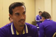 Seb Hines speaks with the Orlando Soccer Journal during Orlando City SC's media day on Friday, February 26, 2016. (Victor Ng / Orlando Soccer Journal)