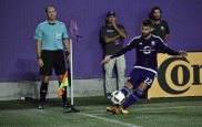 Antonio Nocerino launches a corner kick into the box following in a match between Orlando City and the Chicago Fire in the Orlando Citrus Bowl on Friday, March 11, 2016. The match concluded in a 1-1 draw. (Victor Ng / Orlando Soccer Journal)