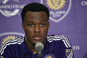 Cyle Larin speaks to the media during the post-game press conference of a 1-1 draw between Orlando City and the Chicago Fire on Friday, March 11, 2016. (Victor Ng / Orlando Soccer Journal)