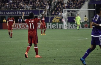 David Accam complains to the referee during a match between Orlando City and the Chicago Fire in the Orlando Citrus Bowl on Friday, March 11, 2016. The match ended in a 1-1 draw. (Victor Ng / Orlando Soccer Journal)