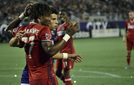 Rafael Ramos (right) and Kennedy Igboananike (left) lock up prior to a corner kick in a match between Orlando City and the Chicago Fire on Friday, March 11, 2016. The match ended in a 1-1 draw. (Victor Ng / Orlando Soccer Journal)