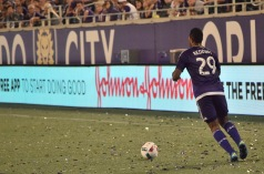 Tommy Redding prepares to pass the ball down the pitch in a match between Orlando City and the Chicago Fire in the Orlando Citrus Bowl on Friday, March 11, 2016. The match ended in a 1-1 draw. (Victor Ng / Orlando Soccer Journal)